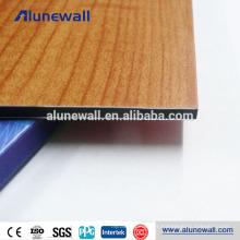 Panel compuesto de aluminio de 3-4mm con textura de madera y madera