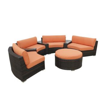 Outdoor PE Rattan Round Sofa Furniture Set