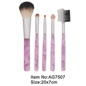 5pcs pink small print plastic handle animal/nylon hair travel makeup brush tool set