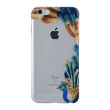 Blue Peacock Bird Background Meio caso de telefone transparente para IMD iPhone 6S Case