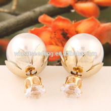 2016 new popular simple design fashion big double pearl earrings