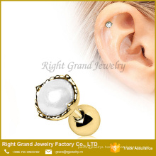 Gold Plated Pearl Crown Cartilage Ear Barbell Ring Piercing Jewelry
