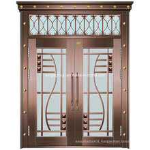 with Window Wrought Iron Entrance Security Glass Copper Door (W-GB-01)