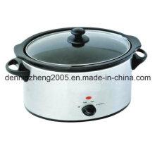 Lento de 5,5 L (6,25 QT) pote de cerâmica de forma Oval, fogão, aço inoxidável