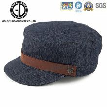 2016 High Quality Washed Denim Army Hats Military Cap with Leather Belt