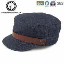 2016 de alta qualidade lavado Denim exército chapéus militar Cap com cinto de couro