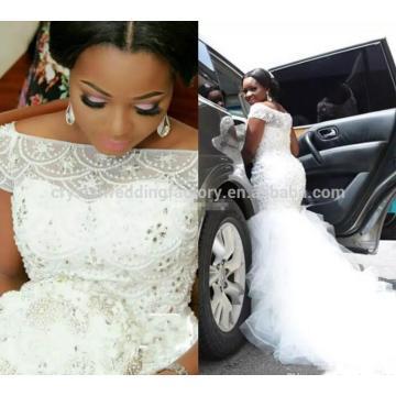 Heavy Beaded Crystals Vestido De Noiva Appliqued Lace African Mermaid Short Sleeve Wedding Dress MW995