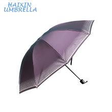 Китай Оптовая продажа OEM напольный большой зонтик Шаосине рынке серебра печать лучшей цене 170Т Эпонж портативный Солнечная 3 раза зонтик