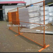 Les panneaux de clôture temporaires enduits de poudre de 8 pieds comprennent des connecteurs supérieurs et une base