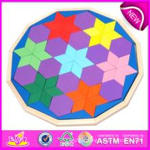 2014 nouveaux jouets en bois de puzzle de couleur, jouets en bois de puzzle de couleur de bloc de haute qualité, jouets en bois de puzzle de couleur de bloc de vente chaude W13A051