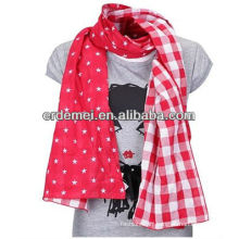 Lady modish double layer scarf cotton