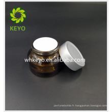 30g ambre vide pot de verre cosmétique avec couvercle visage crème crème de fond pot de verre bouchon argenté