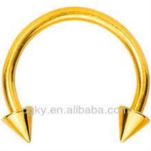 Gold Anodized Titanium Horseshoe Spike anneaux de perles captifs bijoux corporels cbr piercing
