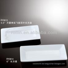 Gesundes haltbares weißes Porzellan-Ofen sicheres rechteckiges Taschentuch steht