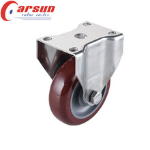 4inches Middle Duty Rigid Caster with PU Wheel (Stainless steel)