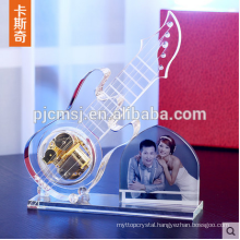 Crystal Glass Guitar Model With Photo Frame For Wedding Souvenirs Gift