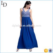 Vestidos de vestido longo azul elegante vestido de festa de uma peça