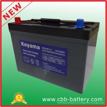 Tiefe Zyklus-Gel-Batterie 12V 100ah für Freizeitfahrzeug