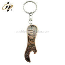 Die casting antique bronze 3D emboss custom metal bottle opener keychain