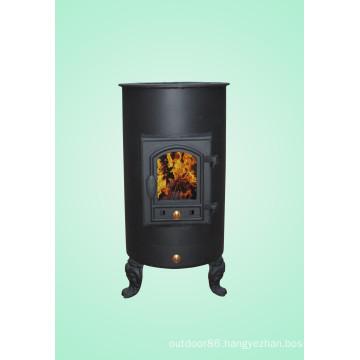 Cylinder-Shaped Cast Iron Wood Burning Stove Factory Direct Selling