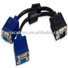 Cable del divisor de VGA 1 en 2 hacia fuera para la computadora