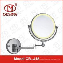 Espejo de maquillaje plegable de doble cara montado en la pared