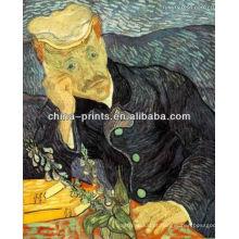 Pintura a óleo famosa do retrato de Van Gogh na lona