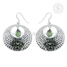 Fantabulous design peridot silver earring gemstone bridal jewelry 925 sterling silver jewellery indian manufacturing