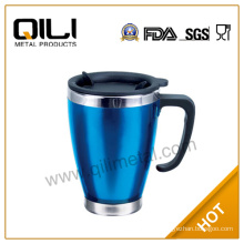 Promotion Double wall travel plastic and rubber mug|BPA free auto mugs