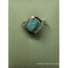 Natural Larimar Sterling Silver Fashion Jewelry in Ring (R0303)