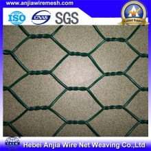 PVC recubierto y galvanizado red de alambre hexagonal, malla de pollo