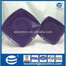 Louça quadrada esmalte cerâmico placas de salada