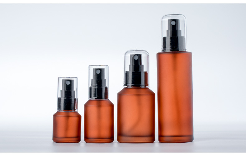 Light-proof glass spray toner water spray bottle pressure lotion oil pump bottle essential oil cosmetic pressure dropper bottle (6)
