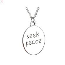 2017 nouvelle arrivée chercher la paix plaque collier de chaîne pour pendentif