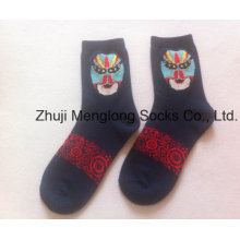 Fancy Good Quality Lady Socks with Facial Masks Pattern