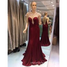 2017 vino rojo y negro Cap manga ver a través de Guangzhou Beaded elegante sirena vestidos de noche