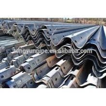 Galvanização W Beam Steel Highway Guardrail Desenho
