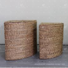 European Style Water Hyacinth Cesta de Lavandería Muebles de mimbre - Juego de 2