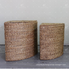 European Style Water Hyacinth Laundry Basket Wicker Furniture - Set of 2