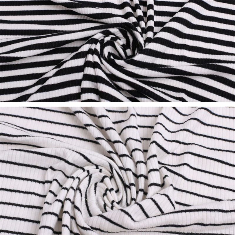 New Zebra Striped Rib Knitted Ployester Spandex Fabrics (2)