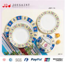 Conjuntos de jantar de forma redonda atacado design simples em louça de porcelana
