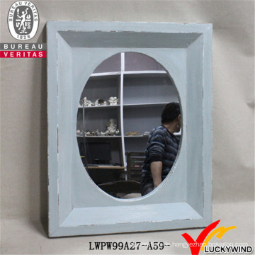 Hand geschnitzte hellblaue dekorative rustikale Vintage Holzrahmen Spiegel