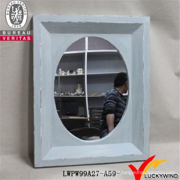 Mão esculpida luz azul decorativo rústico vintage madeira frame espelho