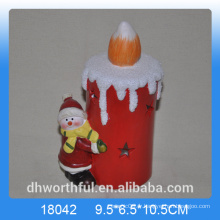 Décoration de Noël en céramique en forme de bougie avec figurine en bonhomme de neige