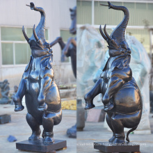 High quality metal craft bronze standing elephant fountain statue
