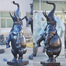 Ofício de metal de alta qualidade em pé de bronze elefante estátua da fonte