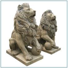 Antik batu haiwan Lion patung singa duduk
