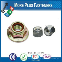Made in Taiwan Stainless Steel Brass Aluminium Silicone Bronze M16 Hex Flange Nut with Polyamid Insert DIN 6926