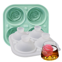 High Quality Whiskey Sphere 4 Cavity Ice Ball Mould With Lid Rose Ice Cube Tray Silicone Mold