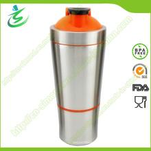 Botella del agitador de la proteína del acero inoxidable de 700 ml con el almacenaje (SS-A2)
